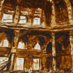 De verwoeste Nationale bibliotheek van Sarajevo, aquarel